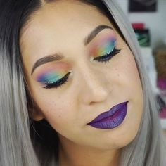 Trolls inspired makeup, based on the Lady Glitter Sparkles character. Kind of a rainbow makeup.