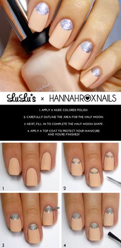 Lulus.com Mani Monday: Nude and Silver Half Moon Mani Tutorial #newyears