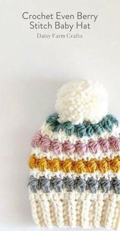 Free Pattern - Crochet Even Berry Stitch Baby Hat