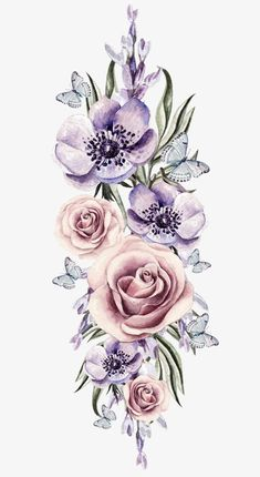 Watercolor flowers, Hand Painted, Watercolor, Hand-painted Floral Material PNG I. Vintage Blume Tattoo, Vintage Floral Tattoos, Vintage Flower Tattoo, Tattoo Floral, Floral Watercolor, Watercolor Paintings, Free Watercolor Flowers, Watercolor Trees, Watercolor Portraits