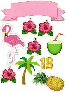 Topo De Bolo De Papel Dos Flamingos Para Imprimir Mimo Kids