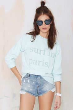 Cuisse de Grenoiulle Surf in Paris Sweatshirt - Morning Mist | Shop What's New at Nasty Gal