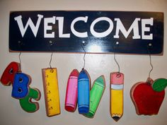 Back to School Whimsical Welcomes by PrimitiveDesignsUtah on Etsy, $19.99