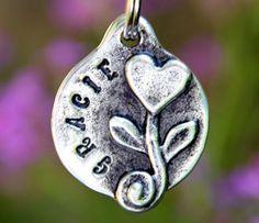 Pet Tags Custom Dog Tag Pet ID Hand Stamped Heart Flower - Precious!