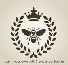 "Laurel Wreath STENCIL 7"" French Bee Royal Fleur Crown Chic Sign Pillow Art decor #DesignsbyJoanie"