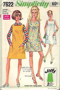 Dress-ONE-PC-Vintage-SEWING-PATTERN-7622-SIMPLICITY-SIZE-7-BUST-31-HIP-33-CUT