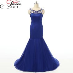 JAEDEN Royal Blue Mermaid Evening Dresses Beading Sexy Backless Floor Length Floor Length 2017 E042 Scoop Neck Long Party Gowns