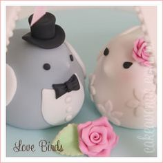 Wedding Cake Topper Bride and Groom Birds