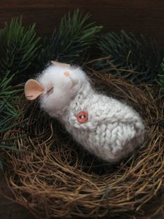 White mouse nest needle felting