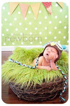 SET Lime Green Fur & Wood Branch Nest Owl Bird Photography Prop Newborn Baby | Beautiful Photo Props