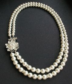 Vintage Style Bridal Jewelry Wedding Necklace Pearl by luxedeluxe,