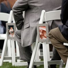 Have pictures of you growing up on one side going down the aisle, and pictures of him growing up down the other side.