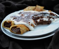 Delicious crepes filled with Nutella hazelnut chocolate spread.