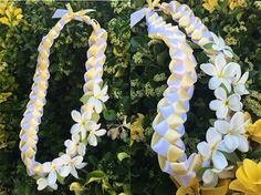 DIY Graduation Ribbon Lei with Artificial Plumerias