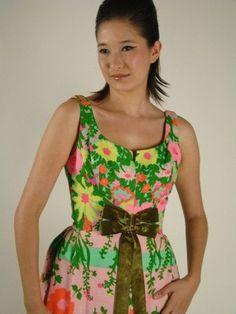 Vintage Dress Vintage Long Dress Tropical by BuffaloGalVintage
