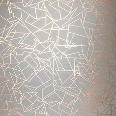 Angles by Erica Wakerly - Copper Rose / Zinc Grey - Wallpaper : Wallpaper Direct Copper Wallpaper, Metallic Wallpaper, White Wallpaper, Geometric Wallpaper, Bedroom Wallpaper, Damask Wallpaper, Modern Wallpaper, Wallpaper Ideas, Unusual Wallpaper