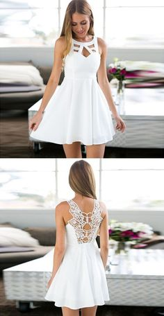 A-Line Jewel Keyhole White Short Homecoming Dress with Lace
