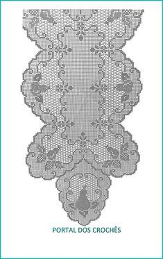Crochet Table Runner Pattern, Crochet Doily Patterns, Crochet Tablecloth, Thread Crochet, Embroidery Patterns, Hand Embroidery, Filet Crochet Charts, Crochet Diagram, Crochet Dollies