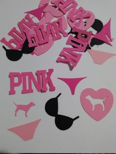 1.5 inches. 100,pieces of Victorias secret pink confetti. Custom colors available