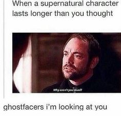 The ghostfacers.I think it's safe to say we are all surprised by how long they have lasted😂 ghostfacers spnfamily winchester notdeadyet supernatural crowley Spn Memes, Funny Memes, Jokes, Hilarious, Funny Quotes, Humor Quotes, Supernatural Destiel, Castiel, Supernatural Pictures