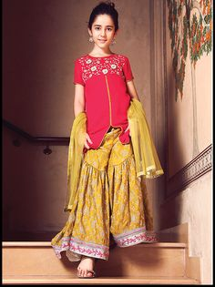 Kids Fancy dresses 2016 in Pakistan-yellow Wedding Dresses For Kids, Fancy Dress For Kids, Little Girl Dresses, Girls Dresses, Dresses 2016, Baby Dresses, Kids Dress Collection, Eid Collection, Kids Party Wear