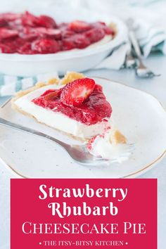 This easy strawberry rhubarb cheesecake pie is a no-bake dessert you'll want to eat every day this spring and summer. recipe via itsybitsykitchen.com #cheesecake #rhubarb #springdessert #pie