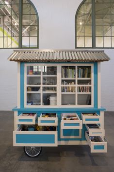 The Feverish Library at Friedrich Petzel Hans-Peter Feldmann Library Cart, Mini Library, Little Library, Library Books, Street Library, Mobile Library, Library Inspiration, Trailers, Little Free Libraries