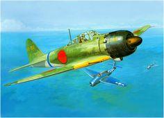 Mitsubishi A6M5C Zero-Sen Type 52 called 'Hei' and considered the most effective variant, belonging to the 261 ° kokutai Vs. Grumman TBF Avenger. Koike Shigeo. Box art Hasegawa