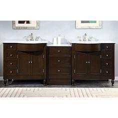 Silkroad Exclusive 95-inch Carrara White Marble Top Bathroom Double Sink Vanity (Wnite Marble Top), Size Double Vanities