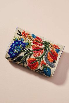 Slide View: Fanciful Florals Embroidered Clutch from Anthropologie Beaded Clutch, Beaded Bags, Embroidery Bags, Embroidery Patterns, Best Leather Wallet, Leather Totes, Leather Bags, Leather Purses, Boho Bags