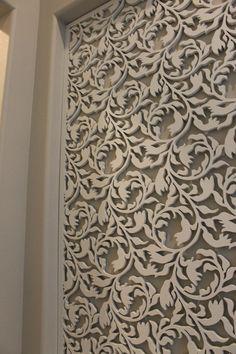 Custom laser cut wood panel www.casavilorainteriors.com