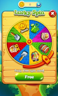 Garden Mania 2 by Ezjoy - Daily Spin - Match 3 Game - iOS Game - Android Game - UI - Game Interface - Game HUD - Game Art