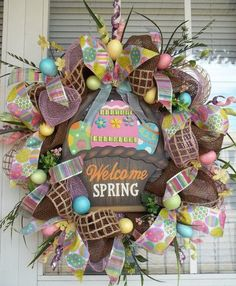 """""""WELCOME SPRING"""" - XL Chic Chocolate Burlap Deco Mesh Glittery Easter Egg Wreath Decoration by DecorClassicFlorals, $149.95"""