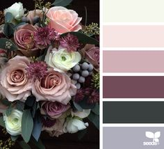 ༺༺♥Elles♥Heart♥Loves♥༺༺༺ ............♥Color Charts♥............ #Color #Chart #ColorChart #Inspiration #Design #Moodboard #Paint #Palette #Decorate #Art #Renovate ~ ♥Design Seeds Flora Palette Colour Pallette, Color Palate, Colour Schemes, Color Combos, Color Patterns, Purple Palette, Summer Wedding Colors, Summer Colors, Fall Wedding