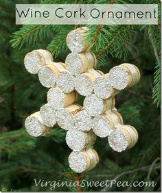 Snowflake Wine Cork Ornament - Sweet Pea