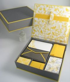 gray and yellow stationary set