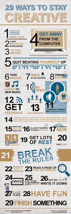 29 Ways To Stay Creative creative tips infographic self improvement self help tips on self improvement self improvement infographic The Words, Innovation, Good Vibe, Creative Infographic, Writing Tips, Creative Writing, Creative Thinking, Essay Writing, How To Be Creative