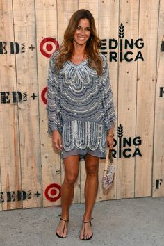 Kelly Bensimon Thong Sandals - Kelly Bensimon let her dress stand out by pairing it with simple black thong sandals at the Feed USA + Target launch. Kelly Bensimon, Housewives Of New York, Real Housewives, Dress Stand, Nice Dresses, Product Launch, Celebs, Casual, Sweaters