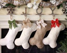 Mini-Dog Bone Stockings Burlap Pet Stocking by BurlapBabe on Etsy