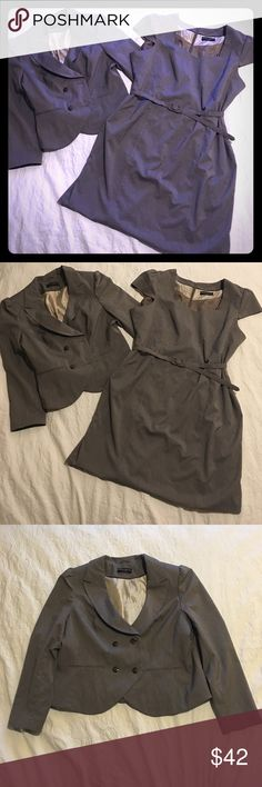 Dorothy Perkins 2 Piece Dress Suit 22UK 18/20US Preowned great/really good condition, gray, size 18/20 US & 22 UK, mini, blazer and dress suit. The only thing wrong is the seam at the bottom of the dress is not sewn, it was taken a loose. Just needs a few stitches around, that is a easy fix. It is shown in the last picture. Very nice suit. Can be worn with or without the blazer. The blazer can be worn with jeans or slacks. It has cap sleeves, belt, and the blazer is peplum in the back. Read…