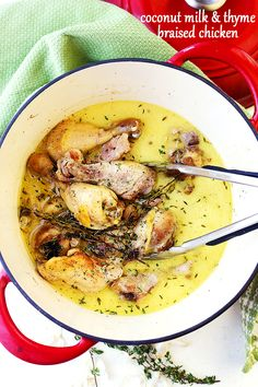 Coconut Milk and Thyme Braised Chicken - Delicious and easy to make one pot chicken dinner cooked in thyme-infused coconut milk and garlic.(Whole Chicken Legs) Chicken Legs And Thighs Recipe, Braised Chicken Thighs, Boneless Chicken, Chicken Breasts, Cooking With Coconut Milk, Coconut Milk Chicken, Dutch Oven Recipes, Cooking Recipes, Healthy Recipes