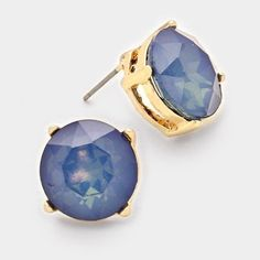 Crystal Round Gumdrop Stud Earrings Blue And Gold