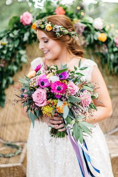 Wes and Casey& Vibrant and colourful Outdoor Tennessee Farm Wedding with tie dyed napkins, colored glass and candlesticks by Erin L. Countryside Wedding, Farm Wedding, Boho Wedding, Floral Wedding, Wedding Colors, Wedding Bouquets, Destination Wedding, Wedding Flowers, Wedding Venues