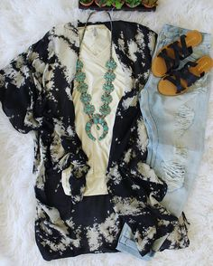 Get over to our website to shop this rad look! www.southerntrends4u.com Night Sky Kimono-$45 The Suede Tank- Ivory-$30 Janis Boyfriend Jeans- Fenwick-$68 The Strappy Sandal- Black-$24 Gigantic Squash Necklace-$120