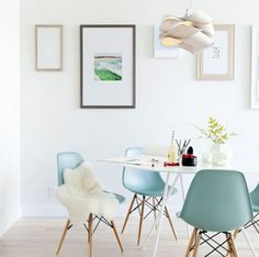 White Dining Room With A Touch Of Tiffany Blue