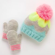 Neon Colorblock Hat & Mittens Set