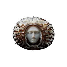 Carved agate cameo of Medusa.