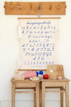 For a kids-corner in our kitchen... Like the wooden stuff, colours and schoolposter!