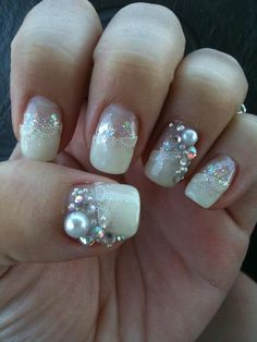@Kim McGady's gorgeous manicure! Love the #lace and #pearls