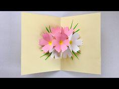 【ペーパークラフト】コスモスのポップアップカード 【Paper Craft】 Cosmos pop-up card Cards Diy, 3d Cards, Pop Up Cards, Handmade Birthday Cards, Greeting Cards Handmade, Card Birthday, Pop Up Flower Cards, Happy Mom Day, Pop Up Karten